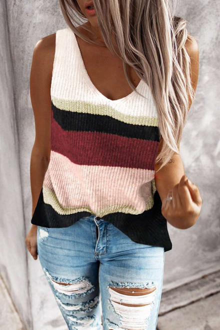 Color Block Knitted Sweater Vest