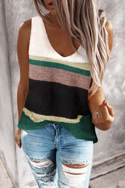 Green Color Block Knitted Sweater Vest
