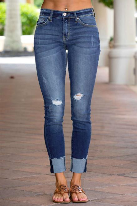 Distressed Skinny Fit Raw Hem Jeans