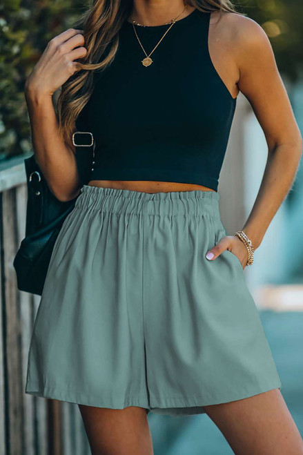Green Cotton Blend Pocketed High Rise Shorts