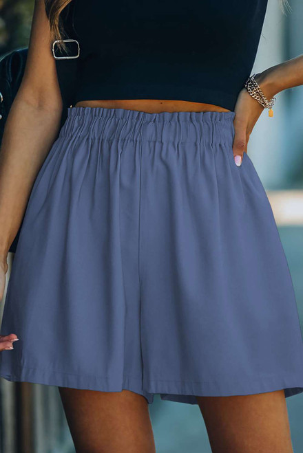 Blue Cotton Blend Pocketed High Rise Shorts