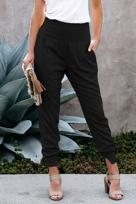 Black Wide Waistband Pocketed Joggers