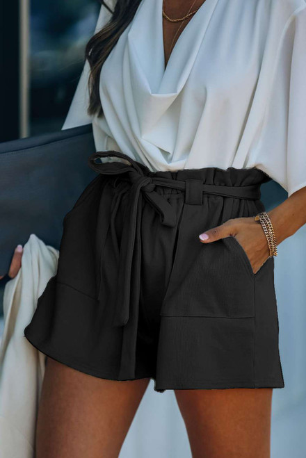 Black Cotton Blend Pocketed Knit Shorts
