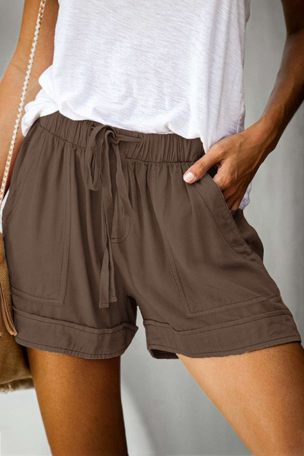 Brown Strive Pocketed Tencel Shorts
