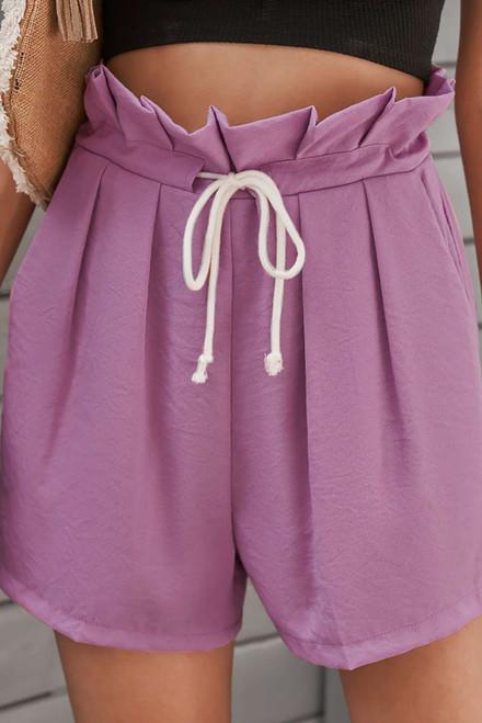 Purple Frilled Drawstring Waist High Rise Shorts