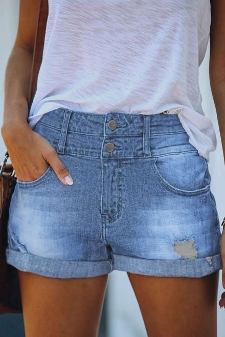 Sky Blue Cuffed High Rise Denim Shorts