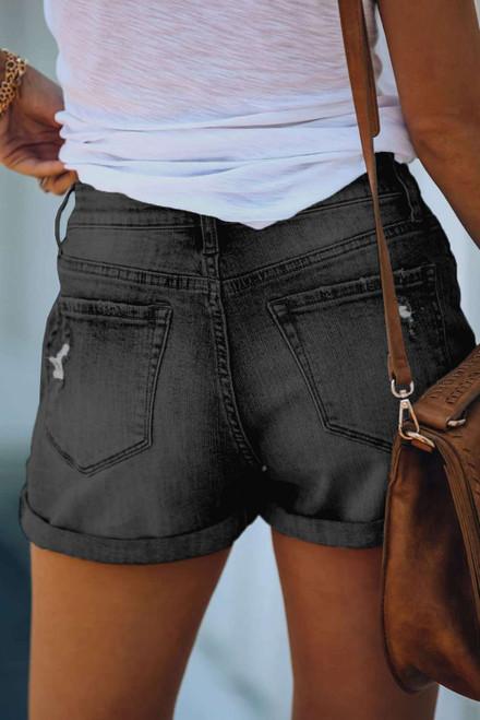 Gray Cuffed High Rise Denim Shorts