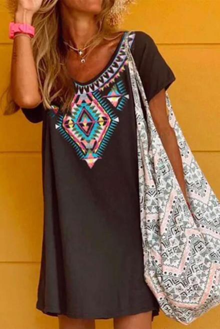Boho Ethnic Print Short Sleeve Mini Dress