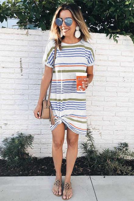Short-Sleeved Striped T-shirt Mini Dress