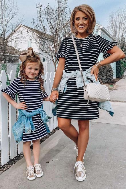 Black Striped T-shirt Mini Dress with Ruffled Sleeves