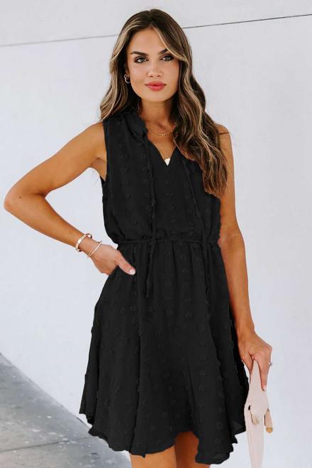 Black Split Neck Pom Pom Textured Flowy Mini Dress
