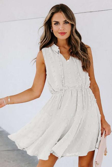 White Split Neck Pom Pom Textured Flowy Mini Dress