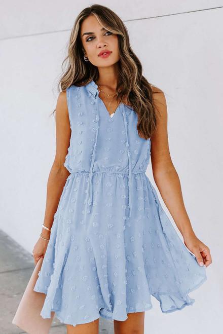 Sky Blue Split Neck Pom Pom Textured Flowy Mini Dress
