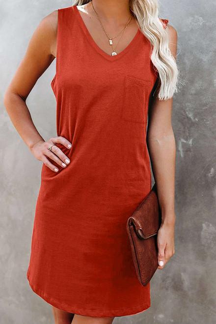 Orange Chest Pocket Tank Mini Dress