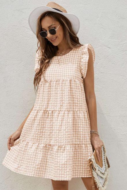 Khaki Plaid Ruffled Mini Dress