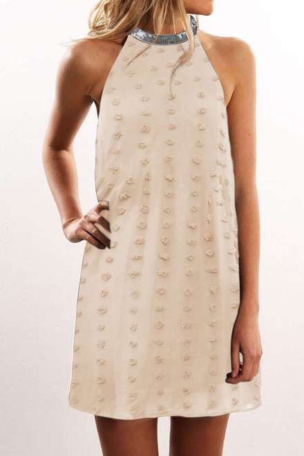 Apricot Pompom Mock Neck Sleeveless Shift Mini Dress