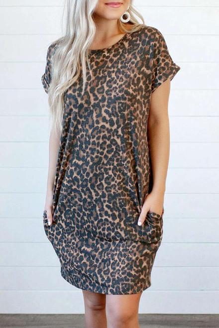 Leopard Short Sleeve Backless Pocketed Mini Dress