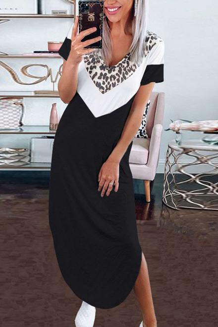 Black V Neck Contrast Leopard Print Short Sleeves Split Maxi Dress