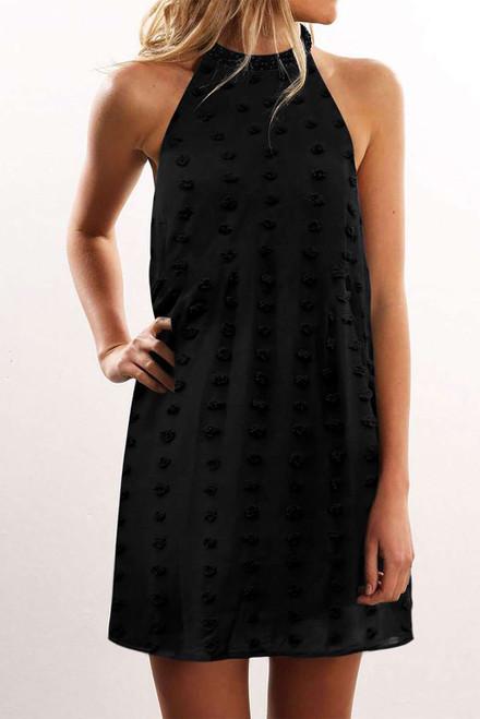 Black Pompom Mock Neck Sleeveless Shift Mini Dress