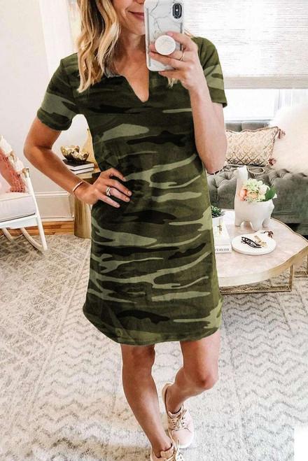 Green Camouflage Print V Neck T-shirt Cotton Mini Dress