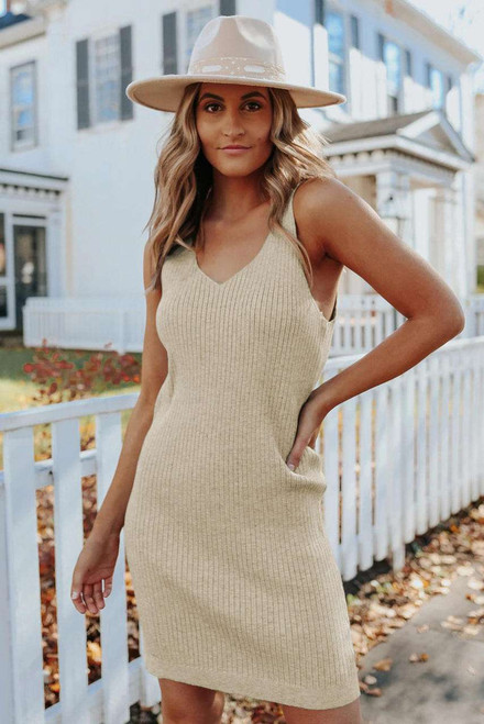 Khaki V Neck Sleeveless Ribbed Mini Dress