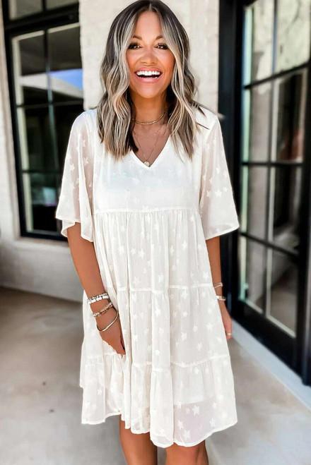 White V Neck Tiered Babydoll Lace Dress