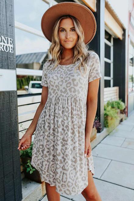 Leopard Print Empire Waist Babydoll Style Dress