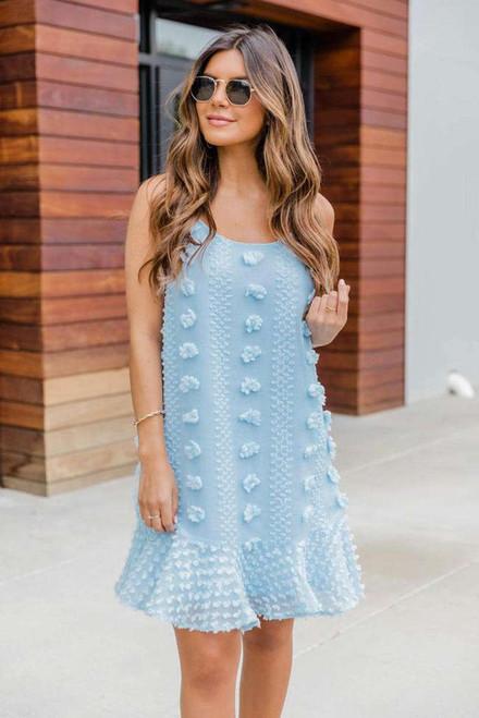 Light Blue Spaghetti Straps Jacquard Ruffle Mini Dress