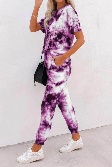 Purple Tie-dye Tee and Sweatpants Sports Wear