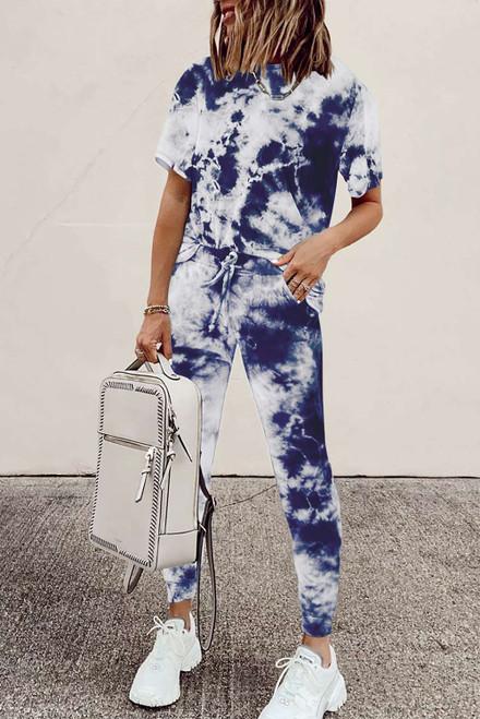 Blue Tie-dye Tee and Sweatpants Sports Wear