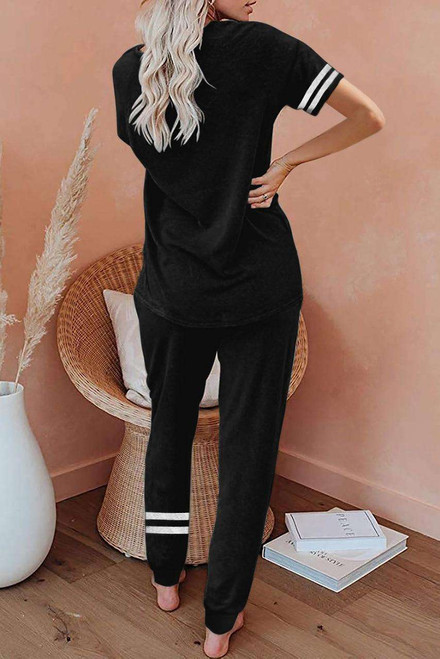 Black Striped Accent Short Sleeve and Joggers Set