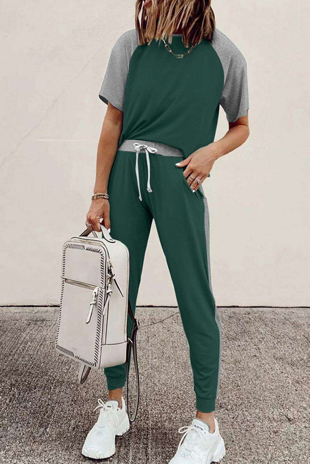 Green Colorblock Short Sleeves and Joggers Sports Set