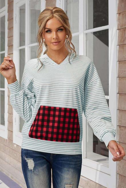 V-neck Puff Sleeve Stripe Hoodie with Plaid Pocket