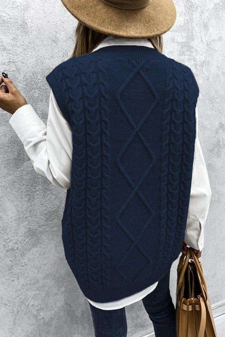 Blue Sleeveless Cable Knitted Sweater Tank
