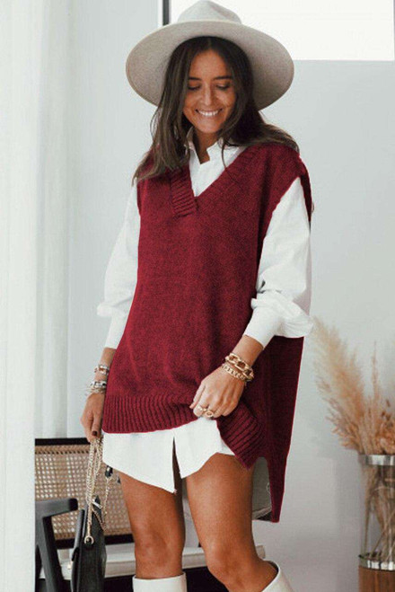 Red Knit Vest Pullover Sweater