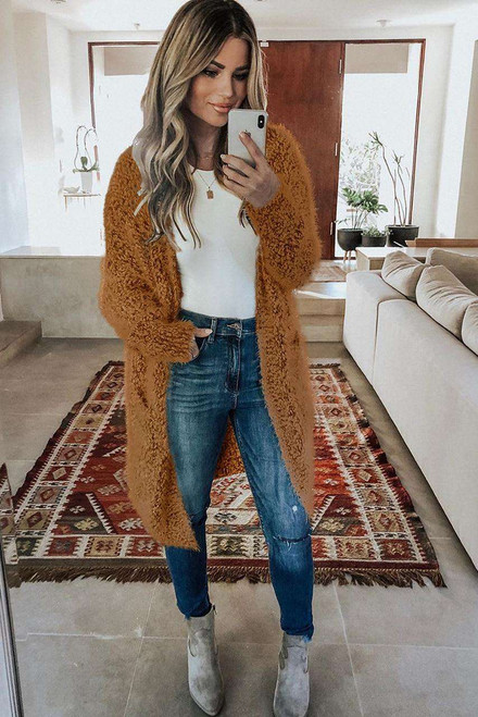Brown Fuzzy Knit Cardigan with Pockets