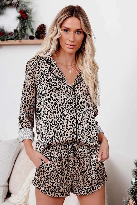 Leopard Shirt and Shorts Pajamas Set