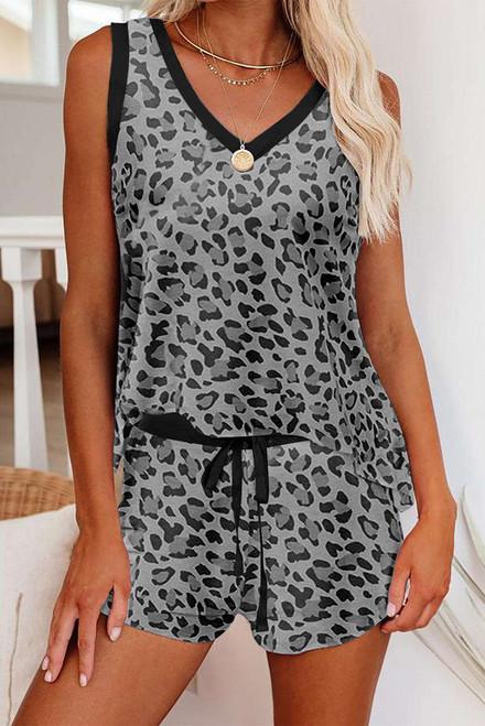 Gray Leopard Print Tank and Shorts Lounge Set