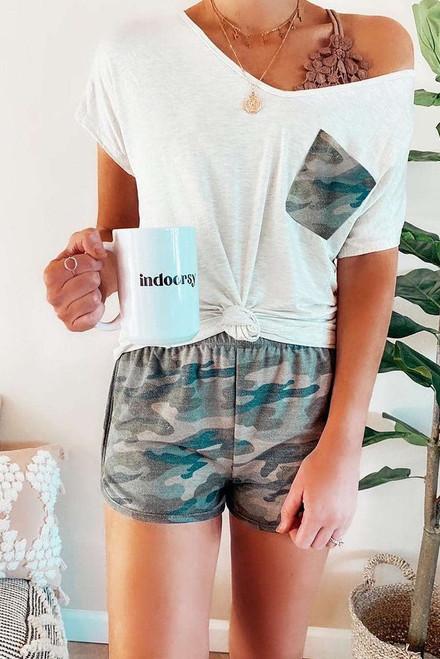 Camo Pocket and Shorts Loungewear Set