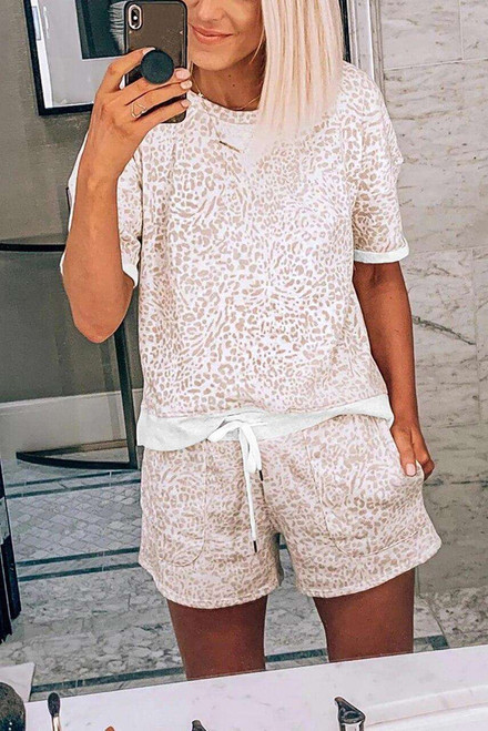 Leopard Print Tee and Drawstring Pocketed Shorts Lounge Set