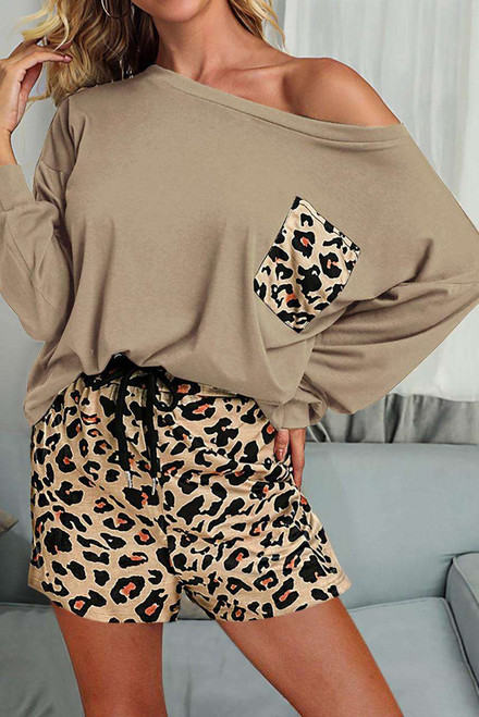 Brown Solid Long Sleeve and Leopard Shorts Loungewear