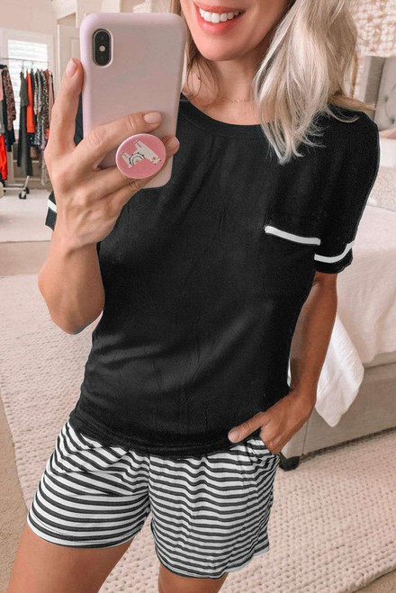 Solid Tee Striped Shorts Lounge Set