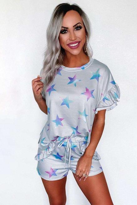 Gray Star Print Ruffled Short Sleeve Tee and Drawstring Shorts Lounge Se