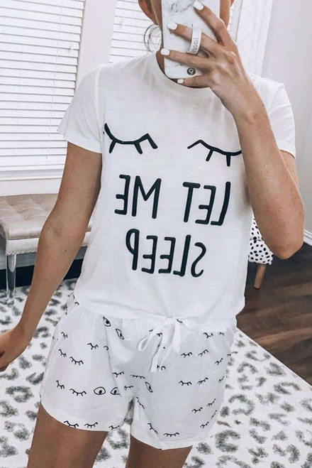 White Eyelash Slogan Tee and Drawstring Shorts Lounge Set