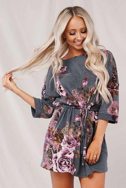 Gray Floral Lounge Tunic Dress