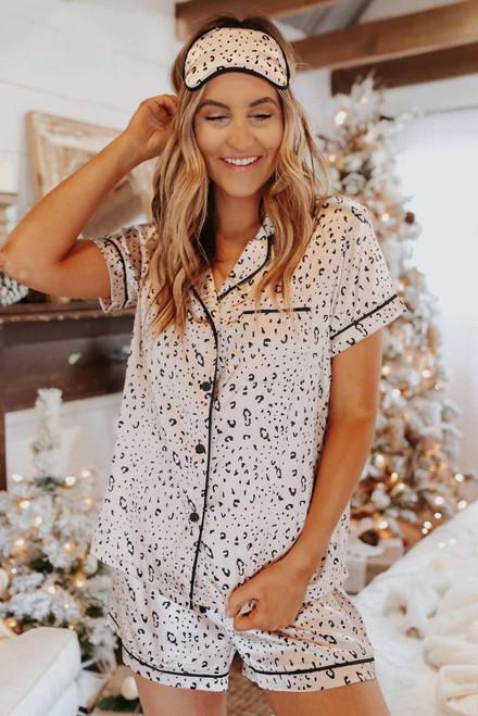 Leopard Print Satin Short Sleeve Shirt and Shorts Pajama Set