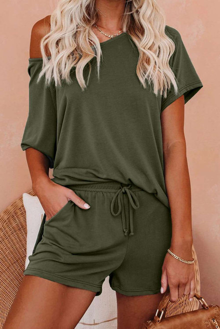 Green Raglan Top and Shorts Knit Lounge Set