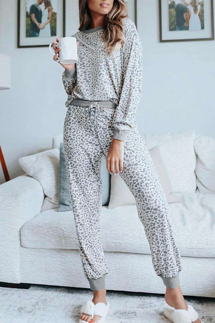 Gray Leopard Long Sleeve Top and Drawstring Joggers Loungewear Set