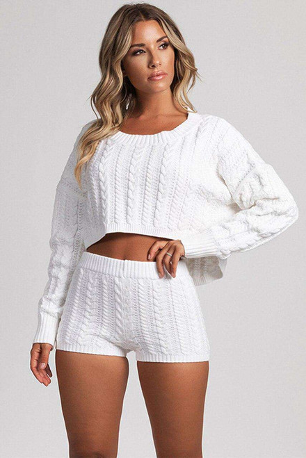 White Cable Knit Top And Shorts Two Piece Set