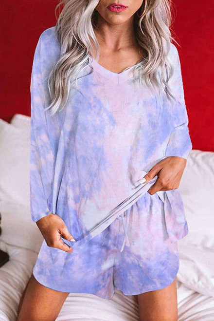 Multi-color Tie Dye Top and Drawstring Shorts Loungewear Set